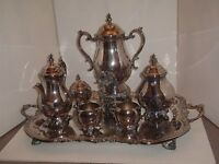 F B Rogers Silver Plate 7 pc Tea Coffee RARE SAMOVAR Sugar Creamer Tray Set