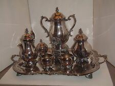 F B Rogers Silver Plate 7 pc Tea Coffee RARE SAMOVAR Sugar Creamer Tray Set