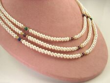 Strand with Gemstone Accents Nwot Freshwater Cultured Pearl Necklace Triple
