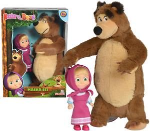 Mascha und der Bär Set Plüschbär + Puppe Spielzeug Stofftier Plüsch Simba Klein