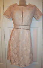 LOST INK lace panel pale pink floral gothic lolita  raglan skater dress S NWT