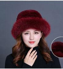 Burgundy Women Winter Hat Knit Rex Rabbit Fur Hat with Fox Fur Brim Bucket Cap