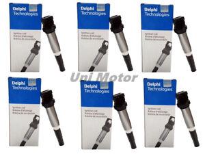 6 pcs 12138616153 Delphi Ignition Coils Metal for BMW 325 335 535 X3 X5