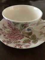 Rose Chintz Tea Cup and Saucer Pink, Johnson Brothers, England Pink