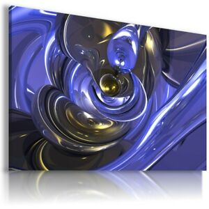 ABSTRACT BLUE GEL CANVAS WALL ART PICTURE LARGE SIZES AB699 MATAGA . NO FRAME