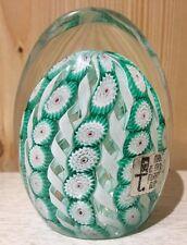 Murano Glass Paperweight Ribbon Millefiori Green White Large Egg W/ Sticker VTG