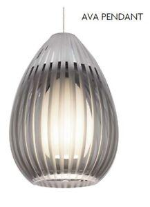 Tech Lighting Low Voltage Pendant Ava Smoked Glass Satin Nickel Trim