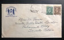 1935 Stratford Canada City Board Of Health Official cover To Toronto