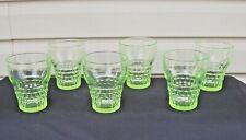 Set of 6 Green Vaseline Depression Glass Tumblers