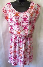 Banana Republic FS Sz S White Pink Orange Tie Dye Medallion Blouson SS Dress