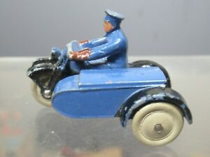 "VINTAGE DINKY TOYS MODEL No.43b ""RAC"" MOTORCYCLE PATROL (  WHITE RUBBER WHEELS )"