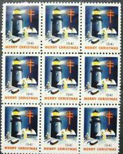 US, 1941 Christmas Seal Printer Mark Block, Lighthouse, WX105, Printer U, MNH