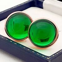 Vintage Peridot Green Glass Cabochon - Large Round Rose Goldtone Cufflinks