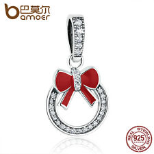 Bamoer Authentic S925 Sterling Silver XMAS Bow loop Pendant Charm fit Bracelets