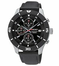 SCNP SKS405P2 Seiko Gents Chronograph Date Display Leather Strap Watch