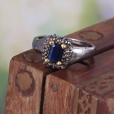 925 Sterling Silver Rose cut Diamond Blue Sapphire Victorian Wedding Ring 190
