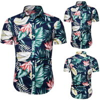 Mode Homme Adulte Chemsise  Floral Bouton Manches Court Blouse Hauts