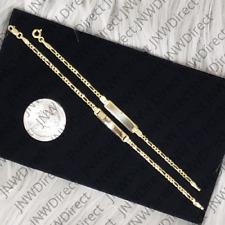 10k Gold Figaro ID Bracelet Engravable for Child Kid Baby Children Unisex