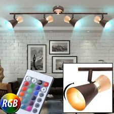 style campagnard Plafonnier LED intensité variable couloir bois Spot or RGB