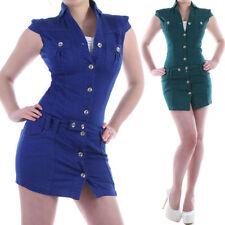 Vestiti da donna blu manica corti cotone