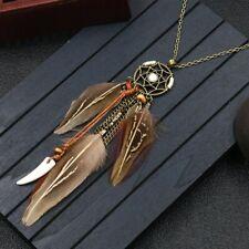 Damen Halskette Feder Flügel Surfer Frieden Anhänger Kette Riemen Traumfänger