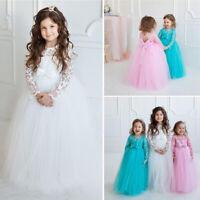 US Flower Girls Long Dress Pageant Wedding Bridesmaid Kids Maxi Dresses Princess