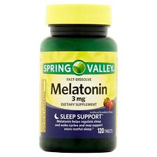 Spring Valley Melatonin Tablets Strawberry Flavor 3 Mg 120 Count, EXP: 2021