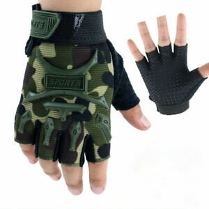 Kids Bicycle Tactical Fingerless Gloves Anti-skid Half Finger Military Mittens