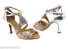Silver Leather Ballroom Salsa Latin Dance Shoes heel 2.5 Size 7 Very fine 7004