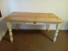 5ft handmade shabby chic solid pine farmhouse table with cutlery drawer