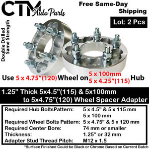 "2PC 1.25"" THICK 5x100 & 5x4.25"" TO 5x4.75"" WHEEL ADAPTER SPACER FIT TOYOTA VOLVO"