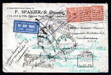GB KGV 1933 Airmail very interesting Postal Cover Multi Cachet WS18055