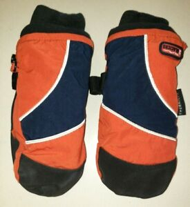 the CHILDRENS PLACE boys WINTER MITTENS GLOVES size 3T 4T orange black NICE