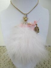 NWT Auth Betsey Johnson Marie Antoinette Pink Mouse Princess Long Chain Necklace