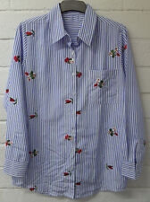 Womens Ladies New Short Cotton Blue Striped Cherry Embroided Top/Shirt/Blouse