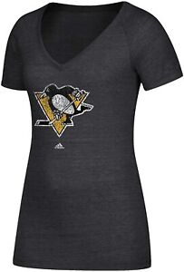 NHL Pittsburgh Penguins adidas Women's V-Neck Tee T Shirt Blouse Charcoal  NTW