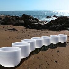 "8-14"" Set of Chakra Quartz Crystal Singing Bowl Meditation Healing Stone"