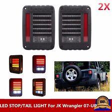 Pair Clear LED Rear Tail Light Brake Turn Signal Reverse 07-16 Jeep Wrangler JK