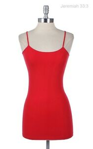 Cotton Plain Solid Tunic Long Camisole Spaghuetti Tank Top Basic Spandex