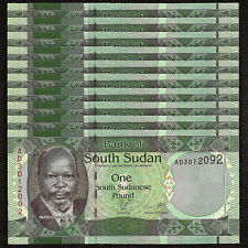 SOUTH SUDAN 1 Pound X 10 PCS 2011 P-5 1/10 Bundle UNC Uncirculated