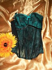 Masquerade Panache Antoinette 4387 teal/black underwired padded boned basque 30D
