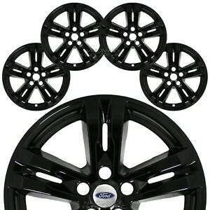 "4 fit Ford Explorer XLT 2020-2021 Black 18"" Wheel Skins Full Rim Covers Hub Caps"