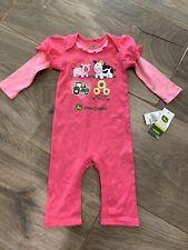 John Deere Girls Size 6-9 Months 0 NWT pink Tractor Farm Girl Romper Bodysuit