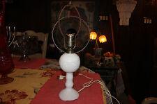 Antique White Milk Glass Diamond Cut Kerosene Lamp Converted Electric Lamp-Lqqk