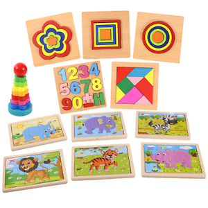 12 Pcs Wooden Puzzles For Toddler Kids Ages 2-4 Learning Animals Educational Toy
