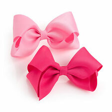 Two Large Pink Tone Ribbed Ribbon Bow Hair Clips RRP £2.50 - Brand New + Tags