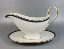 SPODE LAUSANNE GOLD EDGE Y8579 GRAVY / SAUCE BOAT AND STAND