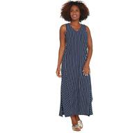 AnyBody Regular V-Neck Cozy Knit Maxi Dress Navy Stripe Color Size L