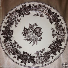 "TWO'S COMPANY BROWN TRANSFERWARE WALL DECORATIVE PLATE 9 1/2"" BROWN FLORAL"