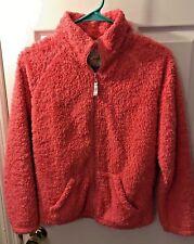 Girls Mini Boden Fuzzy Fleece Jacket Pink Full Zip Pockets Sz 13-14Y #31411